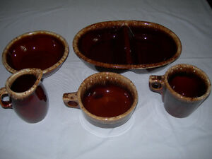 """Vintage Hull """"Brown Drip"""" Ovenware Pottery - 5 pieces"""