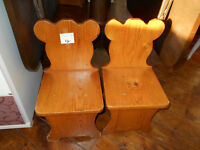 TWO SMALL KIDS CHAIRS SOLID PINE $12 FOR THE PAIR NO TAX