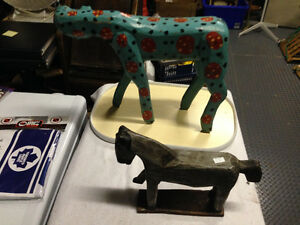 2 VINTAGE HORSE FOLK ART WOODEN FIGURES - PARKER PICKERS -