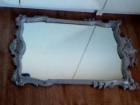 Large Grey ornate mirror