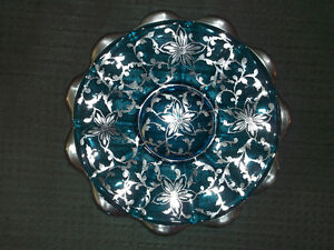 Blue Glass/Silver Overlay Plate-Vintage