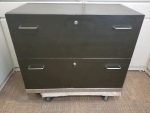 "Wood 2 drawer cabinet dark wood 36"" x 18.5"" x 28.5"""