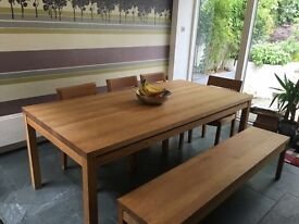 Solid Oak Dining Table - Seats 8