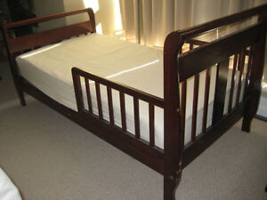 Brown Sleigh Toddler Bed with Matress