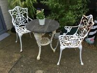 Garden table and chairs cast iron
