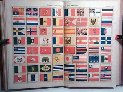 1890 Antique Original Colour Print Plate Flags National And Commercial