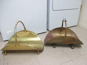 Vintage Accessoirees de foyer portes-bûches en laiton / brass