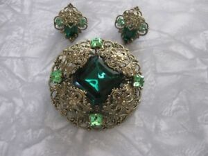 Stunning Vintage Filigree Rhinestone Brooch Earring Sets~see all