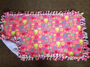 Pink frog handmade fleece blanket