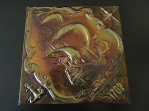 Vintage collectible copper wall hanging carved decor
