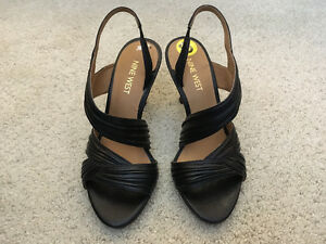 Nine West Beaulah Women Open-Toe Leather Black Slingback, Size 5