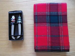 Christmas Tablecloth & Cheese Knives
