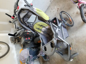 High chair, smart trike, stroller, and baby gates
