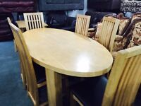As new oak table 6 chairs