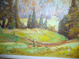 "Peter Stoyan (Stoyanoff) ""Sunlit Fields"" 1951 Original Oil Paint Stratford Kitchener Area image 9"