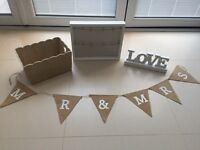 Wedding vintage/rustic bundle - Table Plan board/Mr&Mrs banner/Card box/Love light up sign