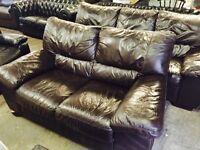 As new Italian leather 3 and 2 sofa set