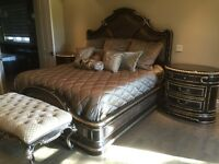 Marge Carson Bed, 2 Night Chests, Bench & Bedding