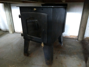 Woodstove with chimney and hearth