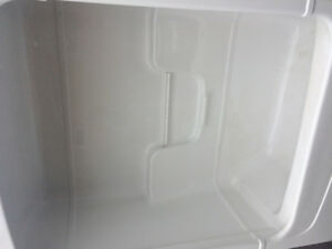 Used Mirolin stand up white one piece tub / shower surround.