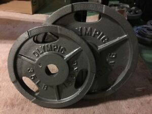 Olympic Bench Press Set with Bar & Weights - 300 lbs