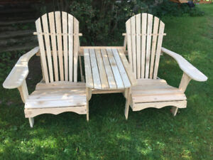 chaise adirondack double avec table en cedre blanc