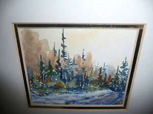 "Myrna Wilkinson ""Winter Shadows"" Original Small Watercolor Stratford Kitchener Area image 7"