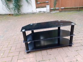 TV UNIT / STAND GLASS SHELVES IN BLACK COLOUR