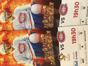 2 tickets Montreal/Pittsburgh in Montreal