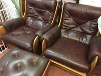 Pair of g plan armchairs vintage Retro Mid Century Teak chairs and stool