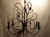 Rustic 6-Light Solid Iron Chandelier – GREAT CONDITION!!