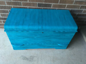 Teal/blue chalk painted chest with bottom drawer