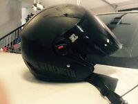 5 helmets, racing boots ,chaps, 2 padded jackets