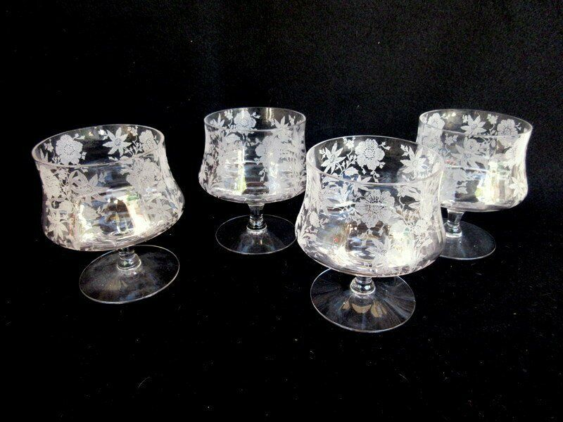 """Cambridge Wildflower #3121 Set of 4 Oyster/Cocktail Glasses 4 1/2"""" Clear Etched"""
