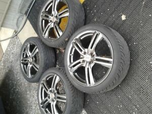 4x100 Migo Racing Black Chrome + Nankang tires 205/40R17