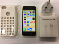 iPhone 5c yellow o2/Giffgaff network with case