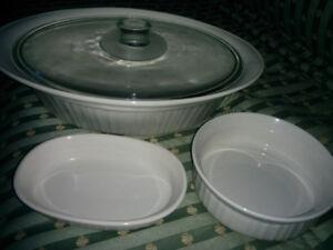 Set Corning White, French Stoneware   3 dishes