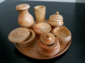 11 piece hand crafted wooden miniature crockery