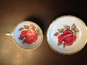 Paragon cabbage red wide rose cup & saucer.