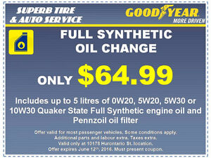 FULL SYNTHETIC OIL CHANGE PROMO