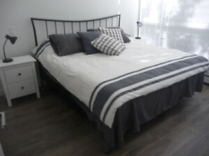 King Bed Frame, Headboard and Mattress plus nightstands (2).