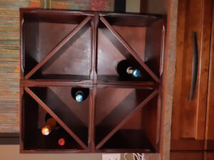 Four Wooden Wine and Storage Cubes