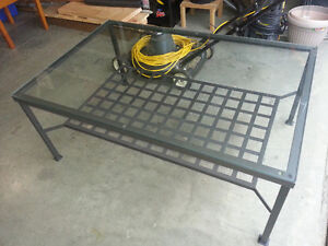 Glass Topped Steel Coffee Table