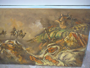 Original oil painting, desert scene, camel and driver