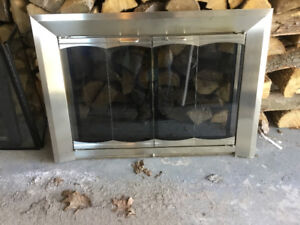 Brass fireplace glass doors