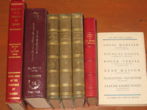 Livres anciens: Code civil du Qc, biographies Can. Franc. etc.