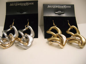 "TWO PAIRS ""JACQUELINE KENT"" DANGLY PIERCED EARRINGS"