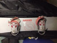 Sims snowboard and Link bindings