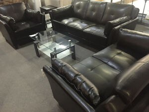 Awesome deal for black leather sofa set