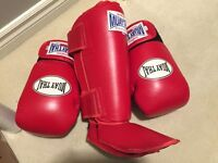 Thai boxing gloves and shin pads